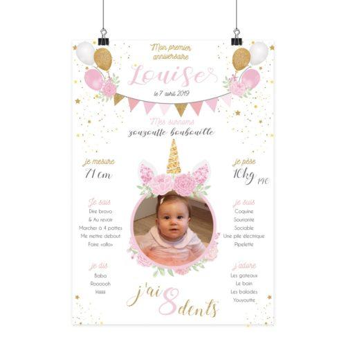 Affiche anniversaire licorne madame jovial bge store